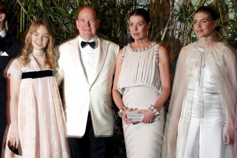 Prince Albert II of Monaco poses with Pierre Casiraghi, Princess Alexandra of Hanover, Princess Caroline of Hanover and Charlotte Casiraghi