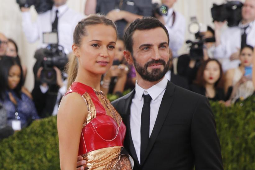 Model Alicia Vikander and fashion designer Nicolas Ghesquiere