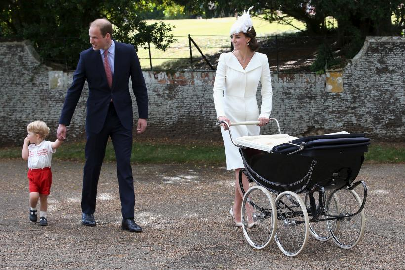 Kate Middleton in a bespoke Jane Taylor Millinery during Princess Charlotte's christening
