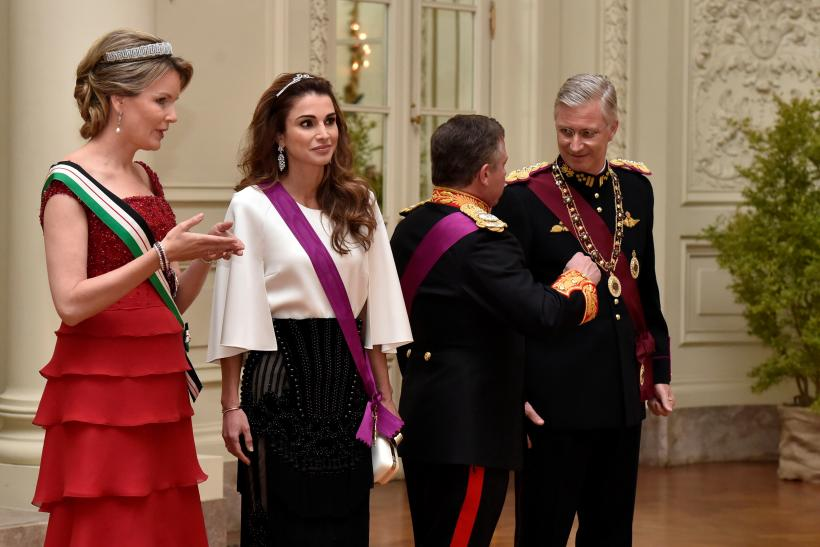 Belgium's King Philippe (R), Queen Mathilde (L), Jordan's King Abdullah (2nd R) and his wife Queen Rania