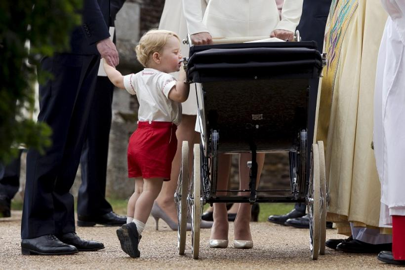 Prince George and baby Princess Charlotte