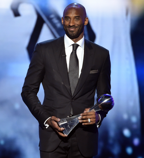 LOS ANGELES, CA - JULY 13: Honoree Kobe Bryant accepts the Icon Award onstage during the 2016 ESPYS at Microsoft Theater on July 13, 2016 in Los Angeles, California