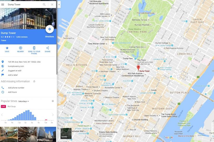 Trump Tower Nyc Map.Trump Tower Name Changed To Dump Tower On Google Maps By Pranksters