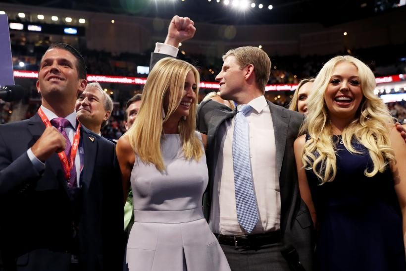 Donald Trump Jr Left Along With Ivanka 2nd Eric Right And Tiffany Take Part In The Roll Call Support Of