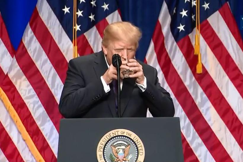 trump drinks water