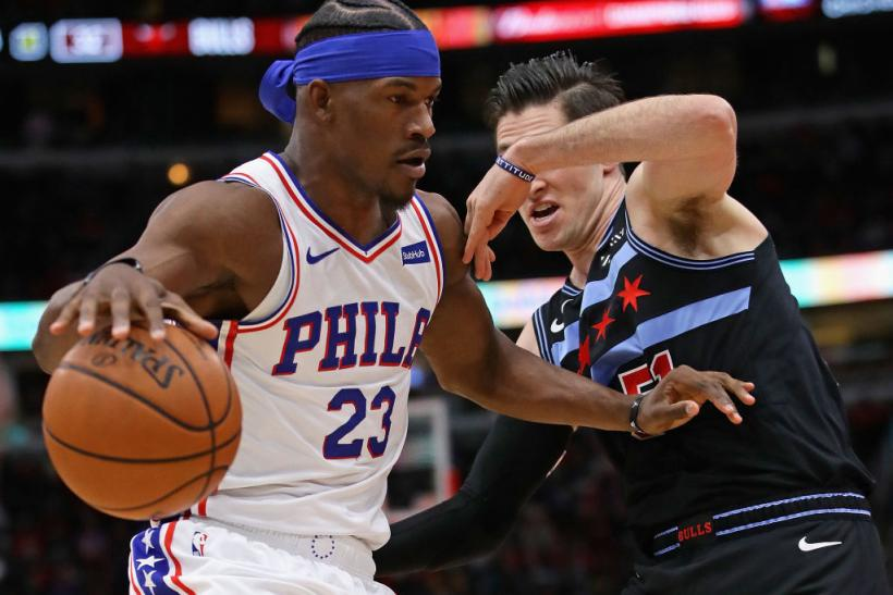 8dac6106ba8 Jimmy Butler could be a target by the Lakers but can he co-exist with LeBron  James? Jimmy Butler #23 of the Philadelphia 76ers moves against Ryan ...