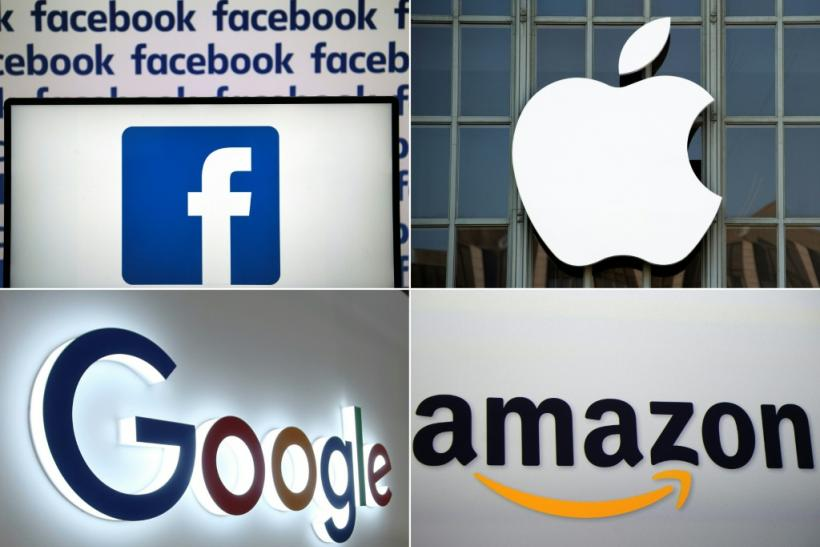Big US tech firms Google, Amazon, Facebook and Apple represented by their logos.