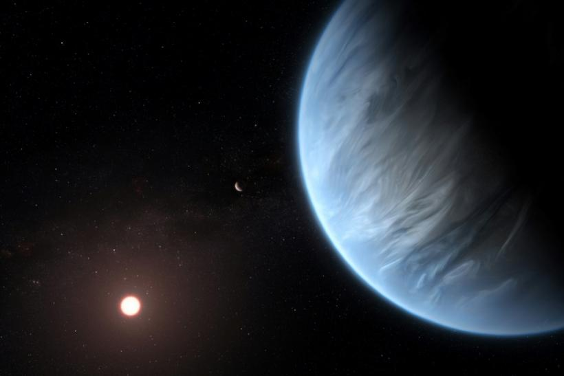 An ESA/Hubble artist's impression of the K2-18b super-Earth, the only super-Earth exoplanet known to host both water and temperatures that could support life