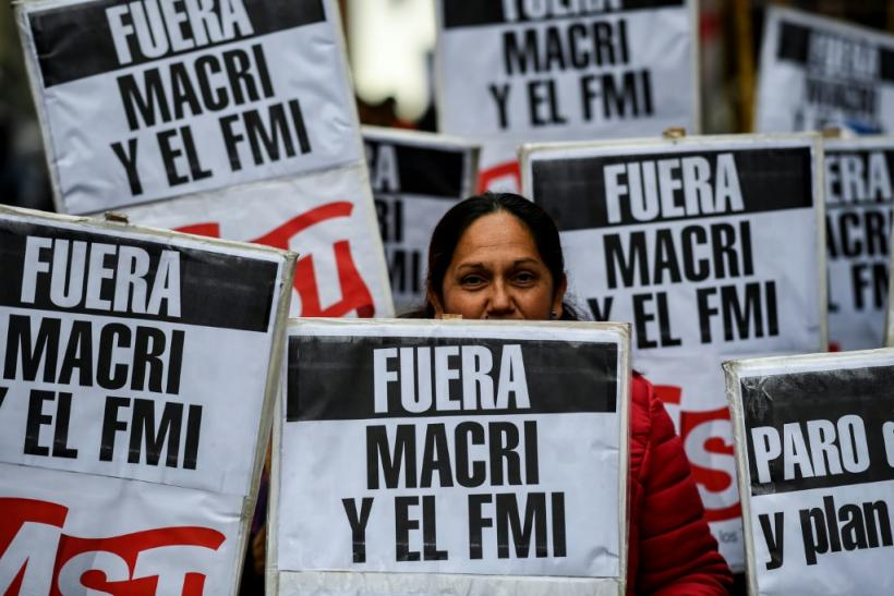 People protest in Buenos Aires in August 2019 against President Mauricio Macri's economic policies