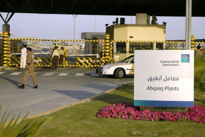 Saudi security guard the entrance of the state oil giant Aramco in Abqaiq in the oil-rich Eastern Province in a 2006 picture