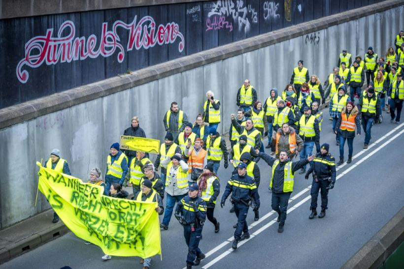 Rutte's met his country's 'yellow vest' protesters after they took to the streets over taxes