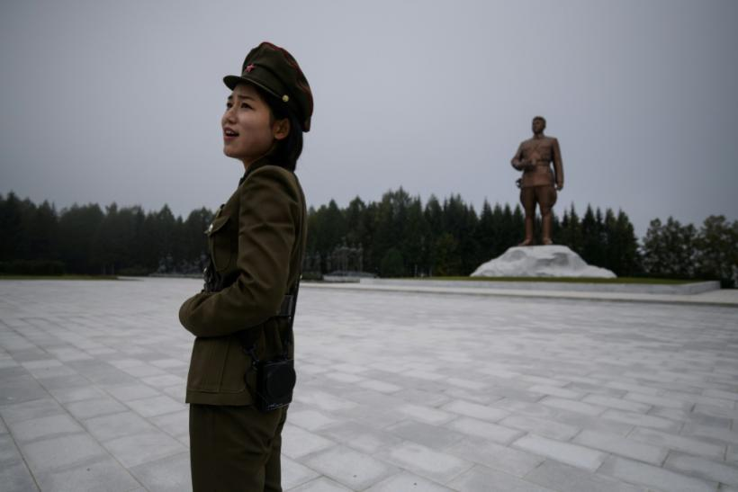 A statue of late North Korean leader Kim Il Sung overlooks the city of Samjiyon, a monumental project ordered by his grandson -- current leader Kim Jong Un