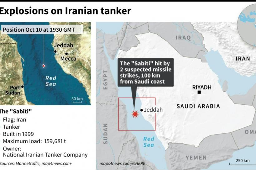"Map locating the Iranian tanker ""Sabiti"" hit Friday by two suspected missile strikes in the Red Sea, 100 km from the Saudi Arabian coast."