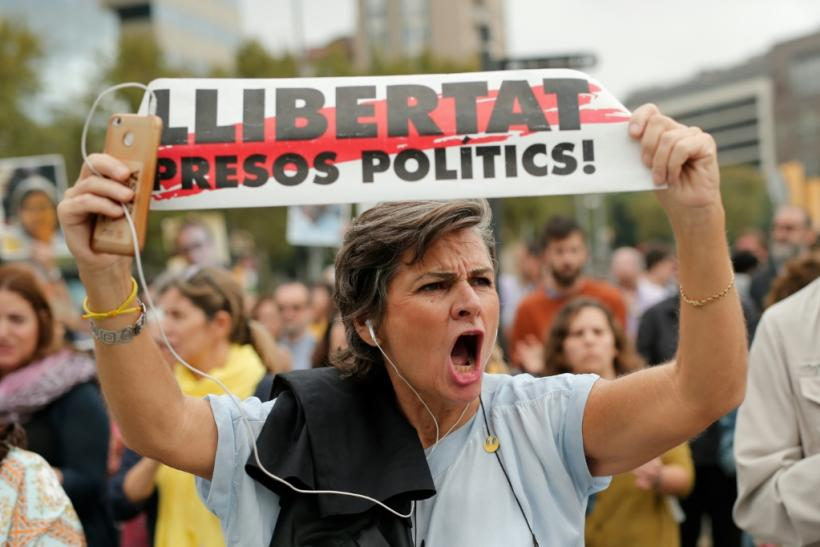 'Free political prisoners!': protesters in the Catalan capital Barcelona took the streets after the sentences were announced