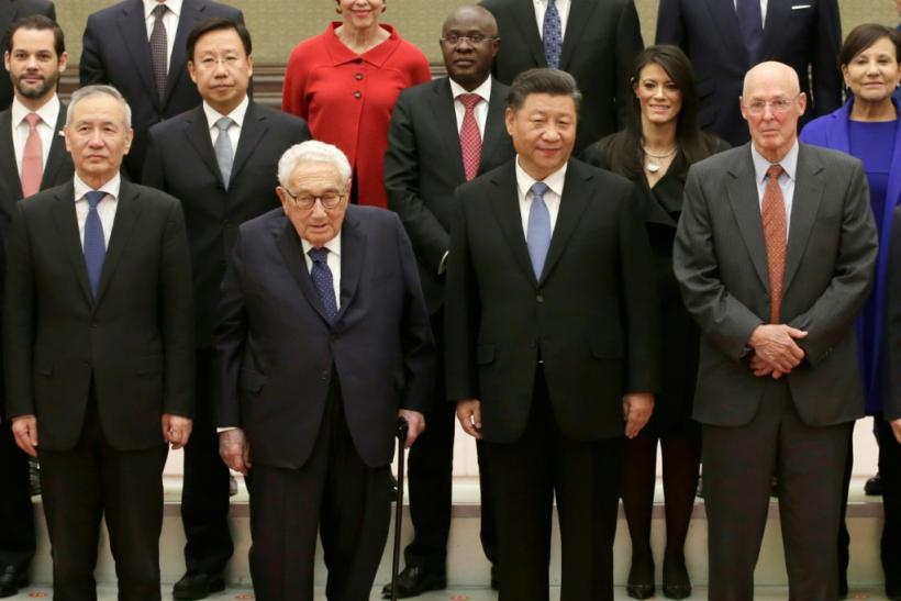 China's President Xi Jinping met former US secretary of state Henry Kissinger and former US treasury secretary Henry Paulson among others at Beijing's Great Hall of the People