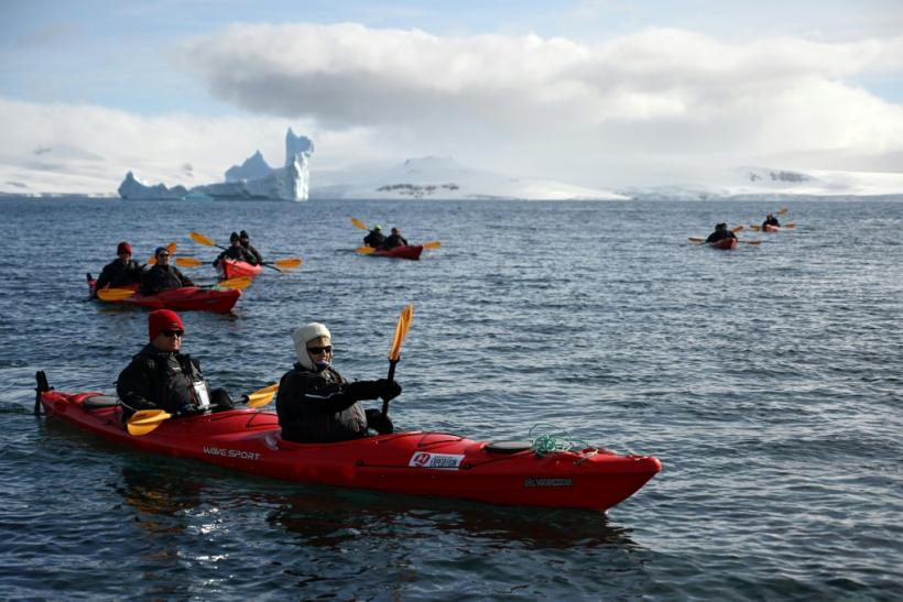 Tourists travel by kayak on Half Moon island, Antarctica