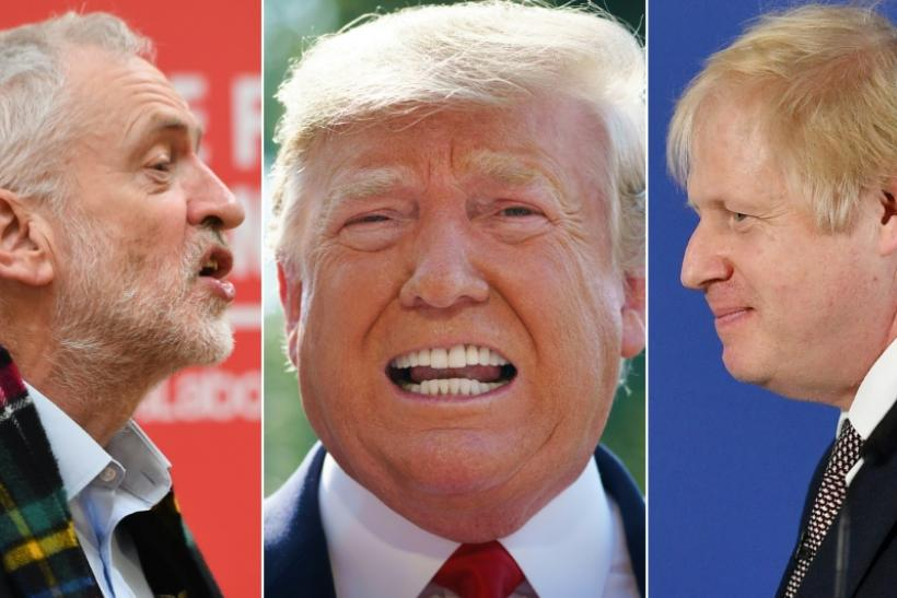 A combination of pictures created in London on November 29, 2019 shows Labour Party leader Jeremy Corbyn (L) and Prime Minister and Conservative Party leader Boris Johnson (R) campaigning for the general election and US President Donald Trump (C) speaking