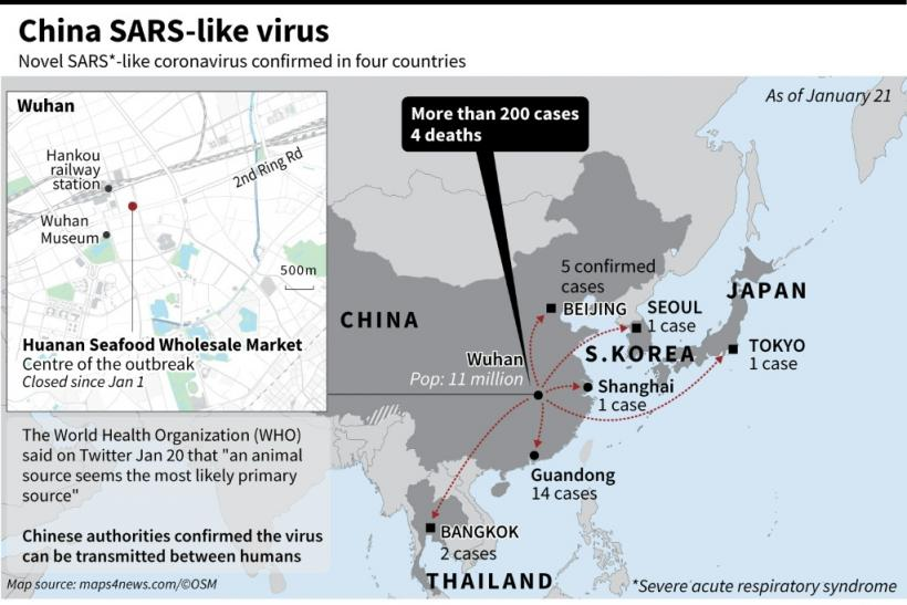 Regional map including China, Japan, Thailand, South Korea, and Wuhan Seafood Market, identified as the centre of a pneumonia outbreak that has sickened dozens and killed four.
