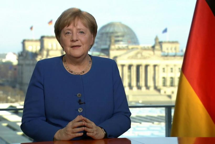 German Chancellor Angela Merkel addressing the nation on the spread of the new coronavirus COVID-19