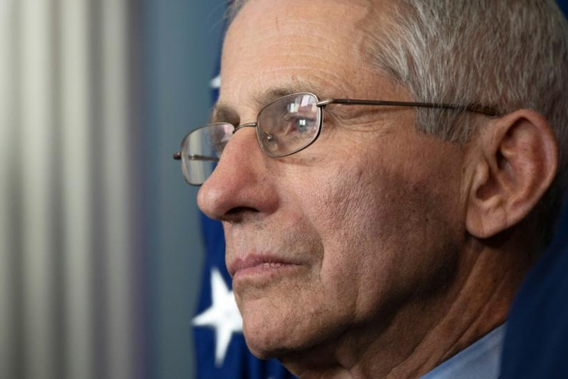 This file photo shows infectious disease specialist Dr. Anthony Fauci at a news briefing March 15, 2020; he now predicts the coronavirus could claim up to 200,000 American lives