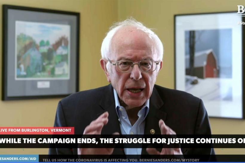 In this video still image from the Bernie Sanders Presidential Campaign, Sanders announces the suspension of his presidential campaign on April 8, 2020, from Burlington, Vermont