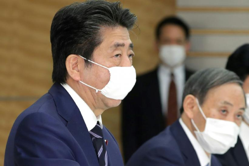Japan's Prime Minister Shinzo Abe has appeared in a video playing with his dog and watching TV as part of efforts to encourage Japanese people to stay at home