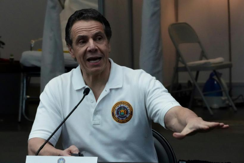 New York Governor Andrew Cuomo, pictured here at a press conference March 27, 2020