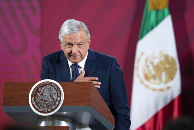 Mexico's President Andres Manuel Lopez Obrador speaking at the National Palace in Mexico City on March 24, 2020