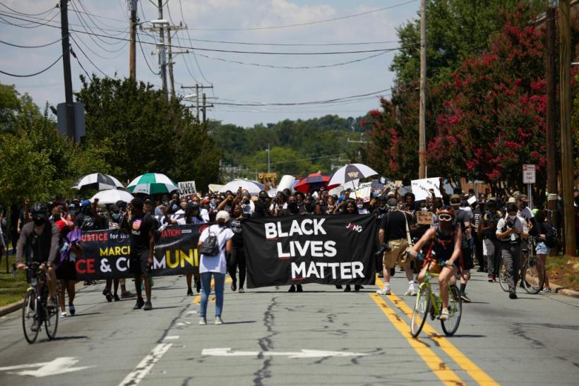 """The UN Human Rights Committee said that """"worldwide protests in support of Black Lives Matter,"""" such as this one in Graham, North Carolina on July 11, 2020, have underscored the importance of the right to peaceful assembly"""
