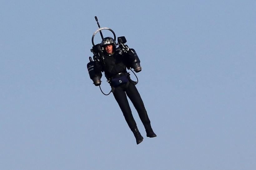 American authorities were probing pilots' reports that they saw a man flying a jetpack, similar to one pictured in this 2018 image from Cannes, France