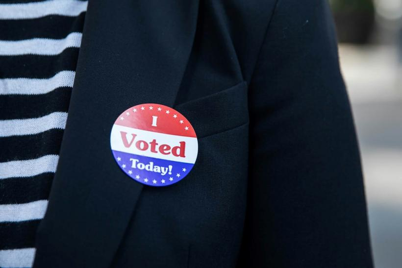 """Lisa O. wears an """"I Voted Today!"""" sticker after casting her vote during early voting at City Hall in Philadelphia, Pennsylvania on October 7, 2020"""