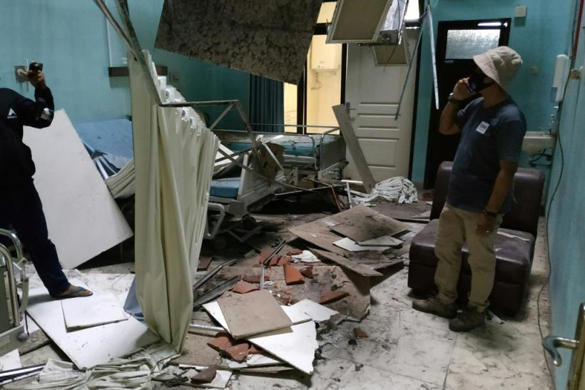 A ceiling caved in at a hospital ward in Blitar, after a 6.0 magnitude earthquake struck off the coast of Indonesia's Java island
