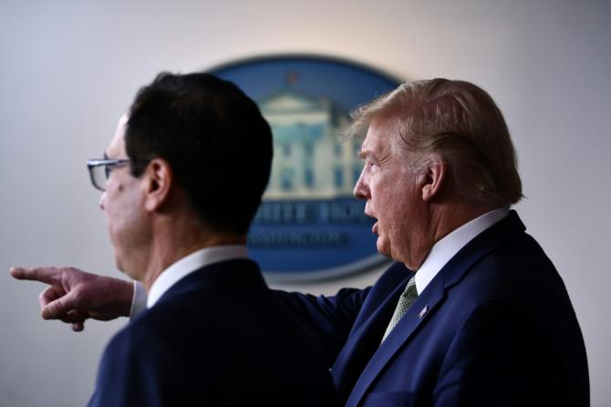 US President Donald Trump and Treasury Secretary Steven Mnuchin are pressing for a $1.3 trillion emergency stimulus package