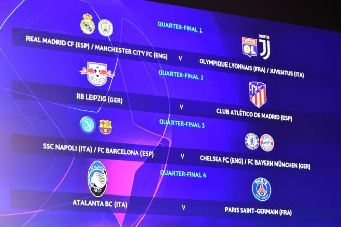 The line-up for the quarter-finals of the Champions League after Friday's draw at UEFA HQ in Switzerland