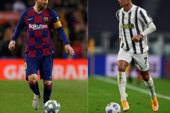 Barcelona's Lionel Messi (L) and Juventus' are the top two scorers in Champions League history.