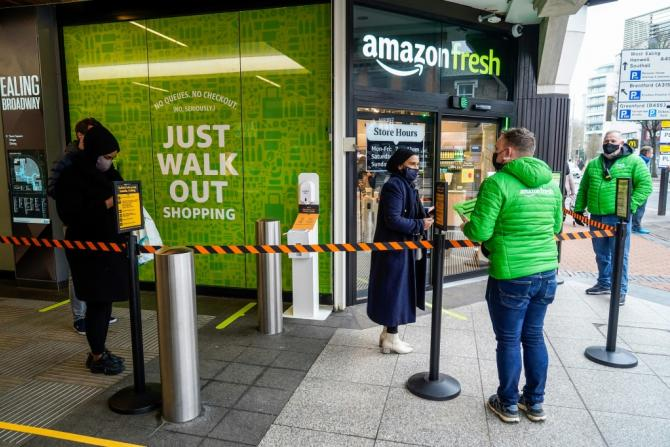 Londoners waited to try out Amazon's first till-free store outside the US