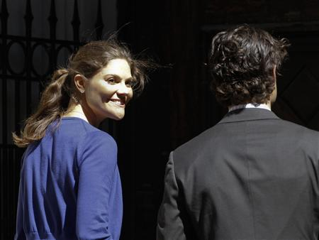 Sweden's Crown Princess Victoria arrives at Stockholm Cathedral in Gamla Stan