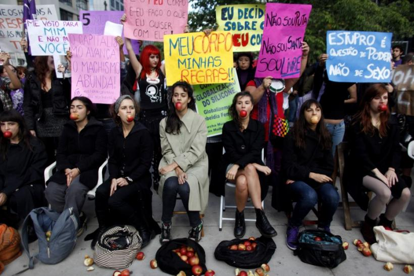 "Women take part in the ""Marcha das Vagabundas"" (Slutwalk) protest in Sao Paulo"