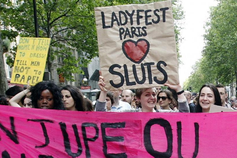 Demonstrators take part in anti-sexism protest in Paris
