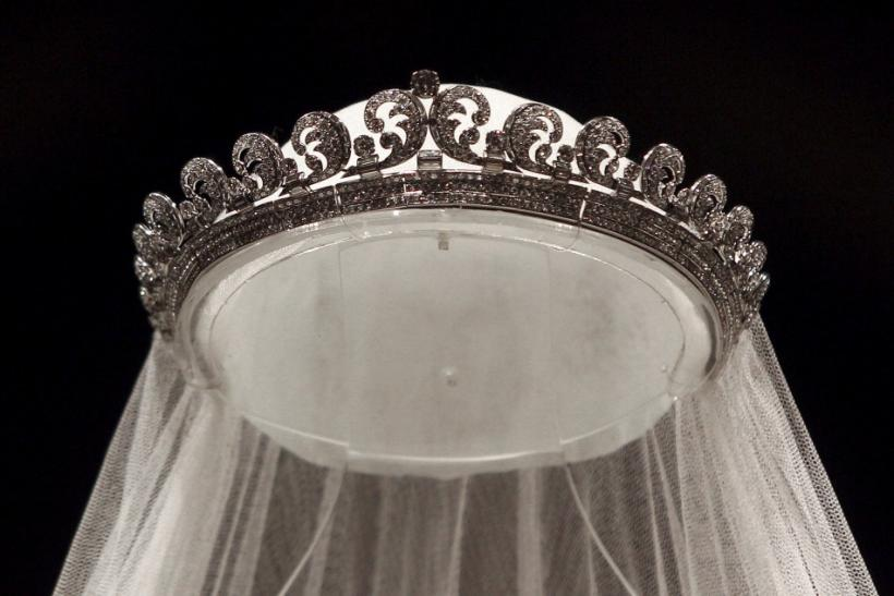 "The Cartier ""Halo"" tiara, worn by Britain's Catherine, Duchess of Cambridge on her wedding day is seen at Buckingham Palace in London"
