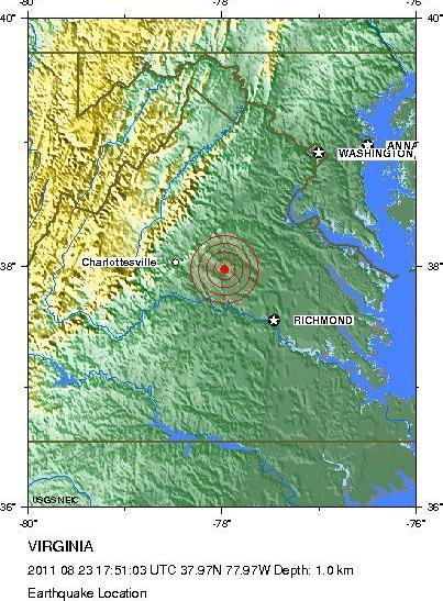 Virginia Earthquake 2011 Map