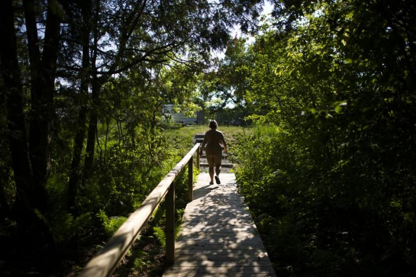 manager Grant walks through the Bare Oaks Family Naturist park Reuters