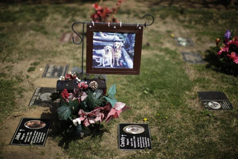 Memorial is seen at a pet cemetery in Huntington Beach