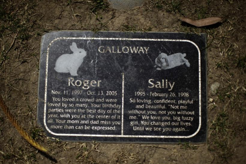 Headstone is seen at a pet cemetery in Huntington Beach
