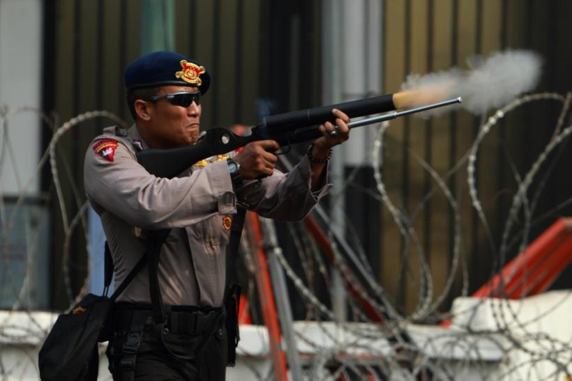 Police in Jakarta, Indonesia fired into the crowd during an anti-U.S. protest there Monday.