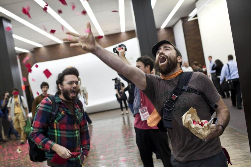 Occupy Wall Street protesters demonstrated inside the lobby of JPMorgan Chase, in downtown Manhattan, Monday.