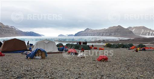 The camp where a polar bear attacked a group of British campers on Friday is seen in Spitsbergen