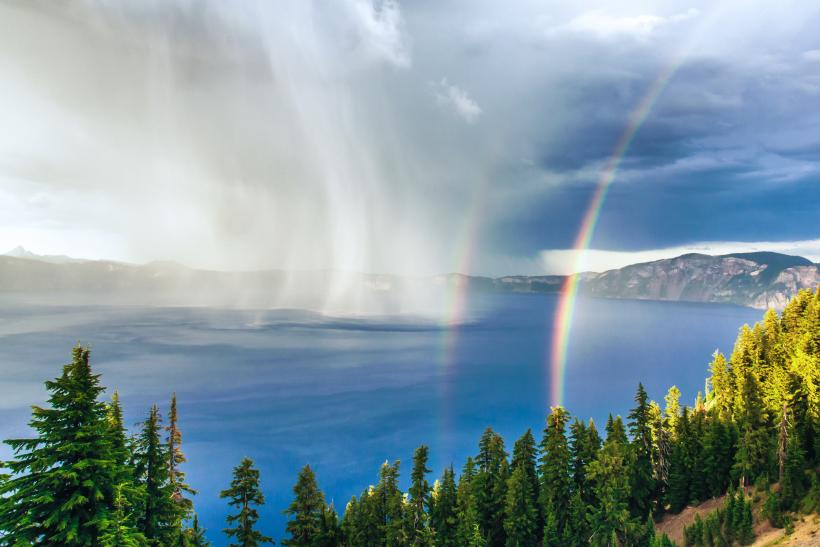 Crater Lake Storm at Sunset