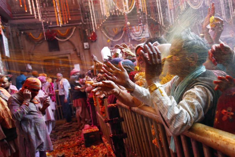 Holi Vrindavan Crowd Water March 13