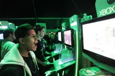 "Gamers play ""Call of Duty: Modern Warfare 2,"" at a pre-release event held in New York"
